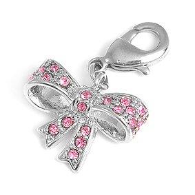 Charms Anhänger für Bettelarmband Schleife mit rosa Strass von Collangé Jewelry