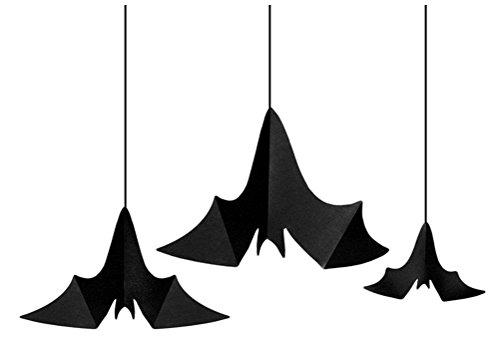 Feste Feiern Halloweendeko I 3 Teile Deckenhänger Fledermaus Schwarz Happy Horror Halloween Party