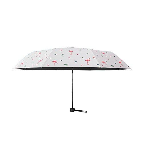 Bonamana Einhorn-Muster-Regenschirm 5-faltender gehender Regenschirm Winddichter Anti-UV Sun-faltender Regenschirm (Flamingo-3 Fold)