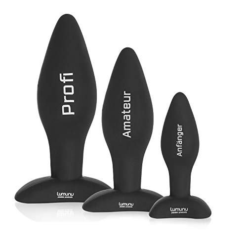 Deluxe Silikon Butt Plug Set (Ø 28 mm, Ø 40 mm & Ø 45 mm), Analplugs mit Standfuss, von Venize