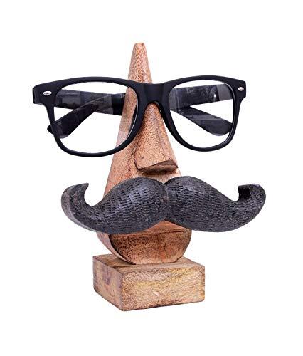 Ajuny Brillenhalter aus Holz, Nasenform, handgeschnitzt, Schnurrbart, Heimtisch, dekoratives Geschenk