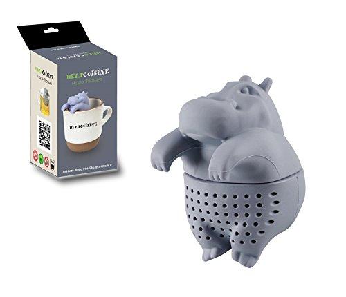 HelpCuisine® teesieb teeei teefilter Tea Infuser teekugel in Nilpferd-Form, Modernes Design aus hochwertigem Silikon 100% BPA frei, 1St. in Grau in der Originalen Verpackung