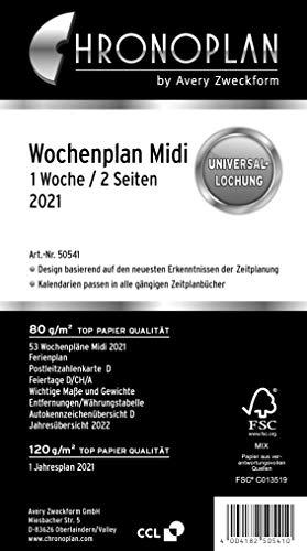Chronoplan 50541 Kalendereinlage 2021, Wochenplan Midi in Spalten (96x172mm), Ersatzkalendarium, ideal für detaillierte Wochenplanung, Universallochung (1 Woche auf 2 Seiten), weiß