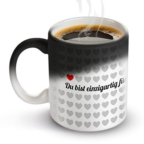 Tassenwerk – Tasse mit Thermoeffekt – Kaffeetasse mit Farbwechsel – Motiv 1000 Herzen – Geschenkidee zum Valentinstag und Geburtstag – Geschenk für Frauen und Männer