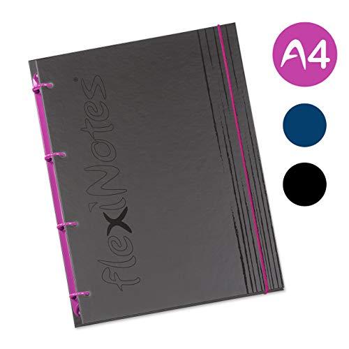 flexiNotes NOTIZBUCH A4, Typ: fN Black, Schwarz, 75 Blatt kariert - Ring S