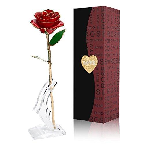 Cozime Geschenke zum Frauentag,Vergoldete Rose Handgefertigt Geschenkbox, Muttertag/Jahrestag/Romantische Valentinstag/Geburtstag Geschenk für Freundin/Oma/Mama (rose1)