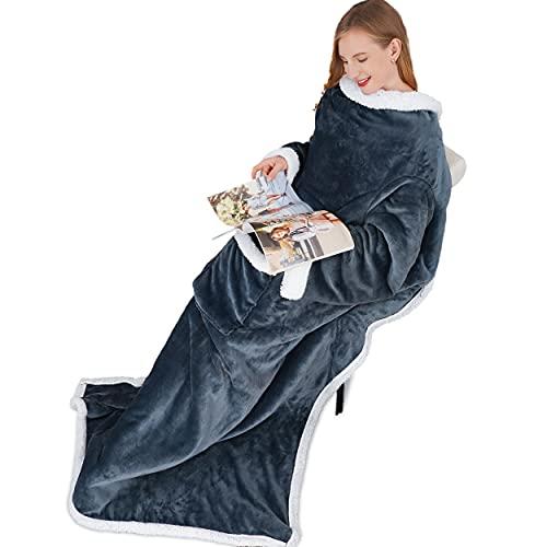 Winthome Kuscheldecke mit ärmel, Sherpa Warme Decke mit ärmeln und Tasche, 140x180cm Hugz Decke Erwachsene Damen Unisex (Grau, 140x180cm)