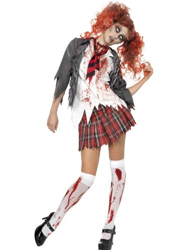 Halloween! Smiffys Zombiekostüm High School Horror Schulmädchen, Grau, mit Jacke, integriertem Hemd, Krawatte und Rock