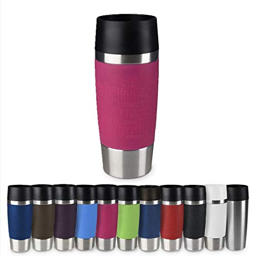 Emsa 513550 Travel Mug Thermo-/Isolierbecher, Fassungsvermögen: 360 ml, hält 4h heiß/ 8h kalt, 100% dicht, auslaufsicher, Easy Quick-Press-Verschluss, 360°-Trinköffnung, himbeer