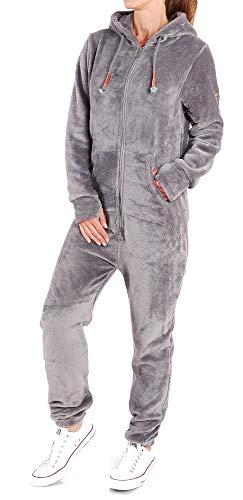 Finchgirl F2001 Damen Jumpsuit Teddy Fleece Dunkelgrau Gr. XS