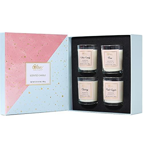 BODY & EARTH # LOVE Aromatherapie Kerzenset für Frauen, 4x100g Lang Anhaltende Duftkerzen zu Hause für Baden und Yoga, natürliche sojakerzen, einzigartige Mama Geburtstagsgeschenke