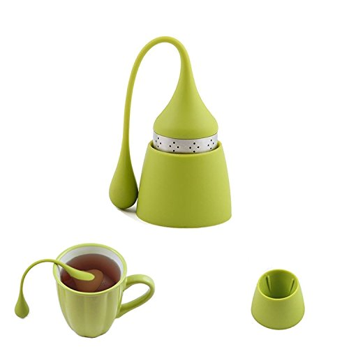 iNeibo Teesieb Teeei für Loses Tee aus Rostfreiem Edelstahl und Lebensmittelechtem Silikon, hübsches Teefilter mit Auffangbehälter. 1er Set Grün