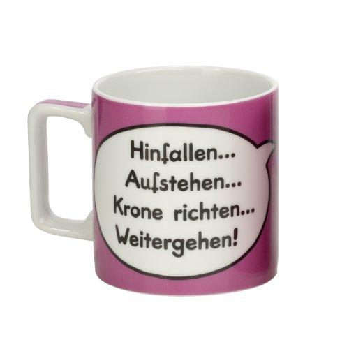 Sheepworld 42483 Tasse Wortheld 'Hinfallen…Aufstehen…Krone richten…Weitergehen!', Porzellan, pink