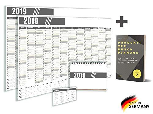 ARGIOX ® Hochwertiges Kalenderset 2019 / Wandplaner / 2x Wandkalender/Tischkalender/Taschenkalender Organizer Inklusive EBook - Familienplaner Groß – Jahresplaner - Tischplaner