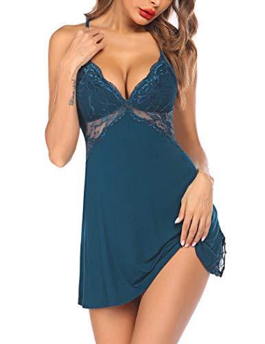 Avidlove Nachthemd Damen Spitze Negligee Sexy Nachtwäsche Kurz Sleepshirt Nachtkleid Babydoll Dessous Reizrwäsche mit String Blau Brün S