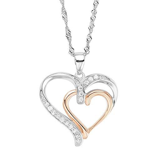 amor Kette mit Anhänger für Damen 45 cm mit Anhänger Herz Bicolor 925 Sterling Silber teil-rosévergoldet Zirkonia weiß