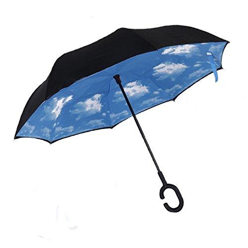 Cloud-Castle Double Layer Regenschirm Freie Hand Winddicht Taschenschirm Stockschirme mit C Griff für Reisen und Auto Outdoor (Blauer Himmel)