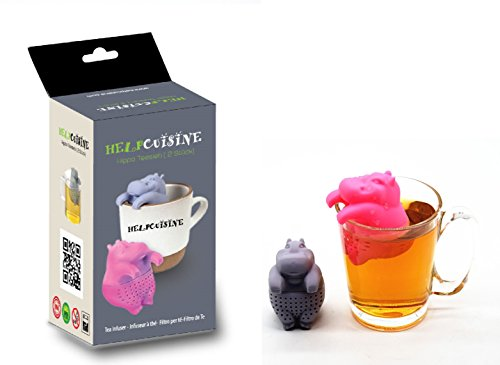 HelpCuisine teesieb teeei teefilter Tea Infuser teekugel in Nilpferd-Form, Modernes Design aus hochwertigem Silikon 100% BPA frei, 1St. in Grau in der Originalen Verpackung