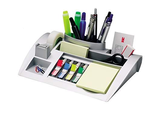 Post-it Tisch-Organizer silber-metallic – Schreibtisch Organizer mit 7 Fächern inkl. Post it Haftnotizen, 4-farbigen Post-it Index Haftstreifen & Scotch Klebeband