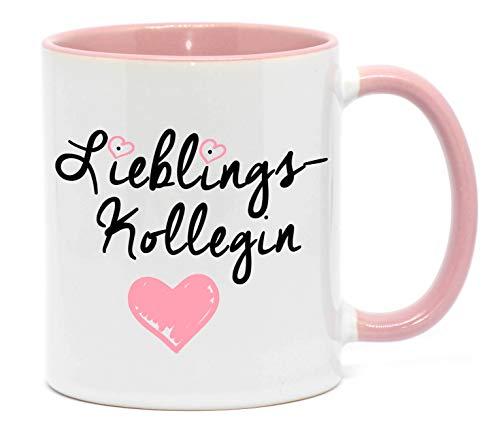 'Lieblingskollegin' Tasse in hochwertiger Qualität, beidseitig bedruckt. Für die beste Kollegin in jedem Büro. Da freut sich jede Kollegin, Chefin oder Freundin bei der Arbeit drauf. (Rosa)