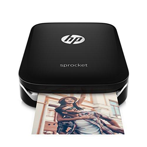 HP X7N08A Sprocket Mobiler Fotodrucker (Drucken ohne Tinte, Bluetooth, 5 x 7,6 cm Ausdrucke) schwarz/silber