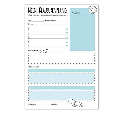 Notizblock | dv_205_blau | Mein Klausurenplaner | DIN A4 | Schreibblock Planer Organizer Schule Studium Test Klausur Note Lernphase Struktur Zeitplan Fach Denkzettel Schulbedarf Vorbereiten (Blau)