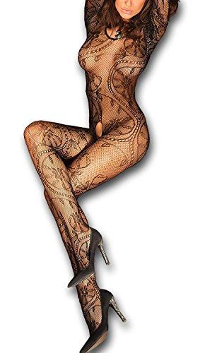 Livia Corsetti ABRA Bodystocking sexy Netz Catsuit feine Spitze Overall langarm offen im Schritt, S/L schwarz