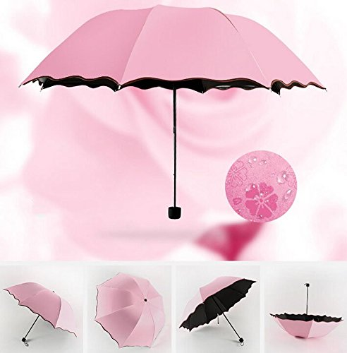Hivel Blume Magie UV Schutz Faltbar Regenschirm Sonne/Regen Anti-UV Reise Taschenschirm - Rose