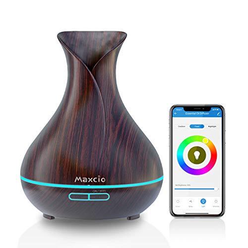 Maxcio Alexa Aroma Diffuser, Ätherische Öl Smart Ultraschall Duftlampe Luftbefeuchter 400ML, Kompatibel mit Alexa und Google Home, APP Steuerbar, Timer Funktion, 7-LED-Farbe für Smart Home