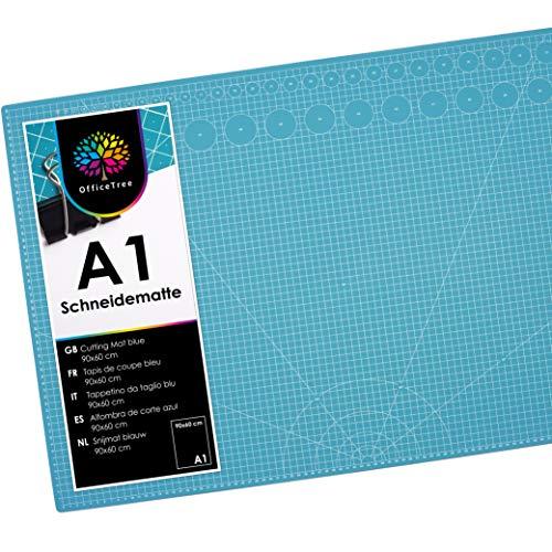 OfficeTree Schneidematte A1 selbstheilend - Blau - Schneidmatte 60 x 90 selbstheilend - Cutting Mat mit beidseitigen Rastern und Markierungen für professionelle Schnitte