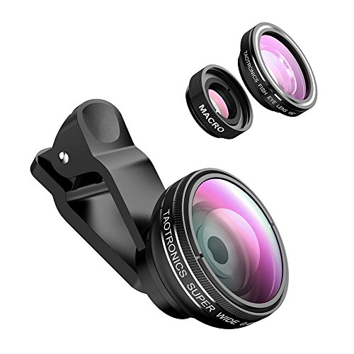 TaoTronics Handy Objektiv Clip-On 180 Grad Fisheye Objektiv, hoher Klarheit hält,10x Macro Objektiv, 0,4X Weitwinkelobjektive für iPhone Samsung Huawei Smartphone/iPad/Tablet/PC/Notebooks