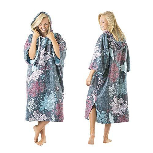 Vivida Lifestyle – Bedrucktes Kapuzen Poncho Handtuch mit Quickdry Fabric und Easy Underarm Access, Große Tasche mit Reisverschluss für den Strand, zum Surfen, Schwimmen & Triathlon (Green Leaf, M-L)