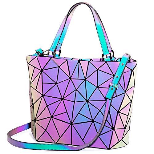 LOVEVOOK Handtaschen Damen, Geometrische Holographic Tasche, Henkeltasche mit Reißverschluss, Leuchtende Schultertasche, Bestes Geschenk für Frauen