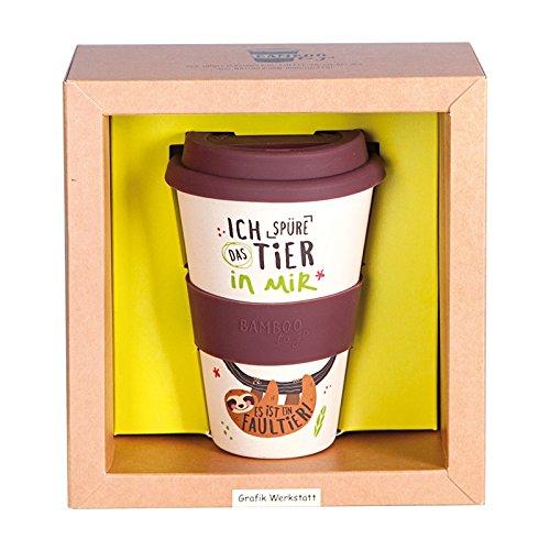 Grafik Werkstatt // Bambusbecher // Kaffeebecher // Coffee-to-Go // Trinkbecher // 400 ml // Bamboo-to-go // Faultier