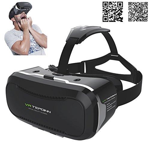 [Aktualisierte Version] Tepoinn Google Cardboard 3D VR Virtual Reality Headset 3D VR Brille für 3D Filme und Spiele, Kompatibel mit 4 ~ 6 Zoll Smartphones, iPhone 6 6s, Samsung Note 5, S6 Edge Plus