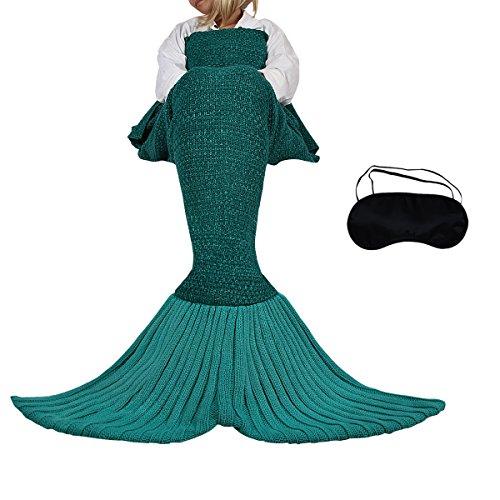 Meerjungfrau Schwanz Gestrickte Decke Schlafsack Blanket Decke für Mdchen Damen (F grau)