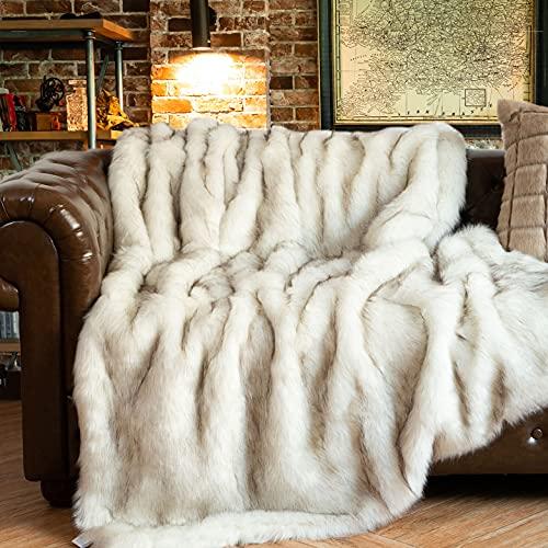 BATTILO HOME Überwurf aus Kunstfell, Warm, Elegant, Gemütlich, Dekorativ, für Bett, Sofa, 130 x 170 cm
