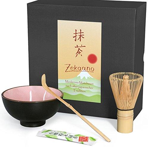 Aricola Matcha-Set 3-teilig rosa, bestehend aus Matcha-Schale, Matcha-Löffel und Matcha-Besen (Bambus) in Geschenkbox. Original