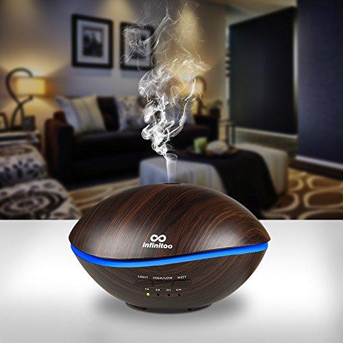 Aroma Diffuser, luftbefeuchter infinitoo 500ML Wal Design Diffusor | Raumbefeuchter Ultraschall mit 7 LED Farbwechsel für Wohnzimmer, Kinderzimmer, Schlafzimmer, Baby, SPA, Büro (WAL-Schwarz)