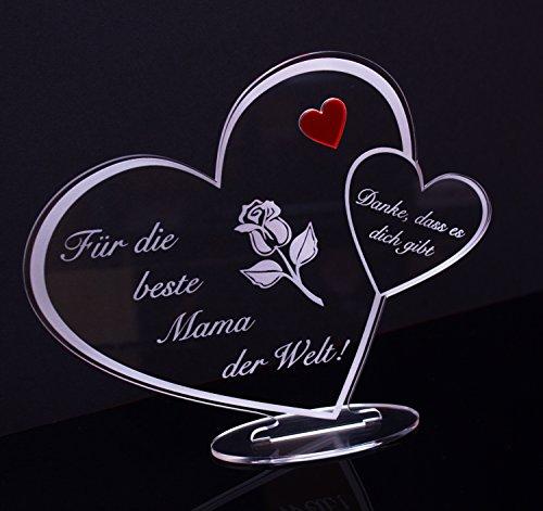 Acryl Schild in Herz Form 'Für die beste Mama der Welt' Perfekt zu Muttertag oder Weihnachten, mit Lasergravur, Geschenk, 205 mm x 170 mm (Für die beste Mama der Welt!)