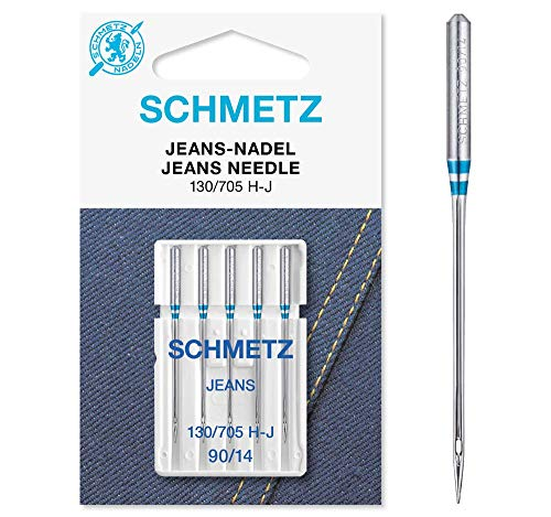 SCHMETZ Nähmaschinennadeln   5 Jeans-Nadeln   130/705 H-J   Nadeldicke: 90/14   auf Allen gängigen Haushaltsnähmaschinen einsetzbar   geeignet für das Verarbeiten von Jeans und ähnlichen Stoffen
