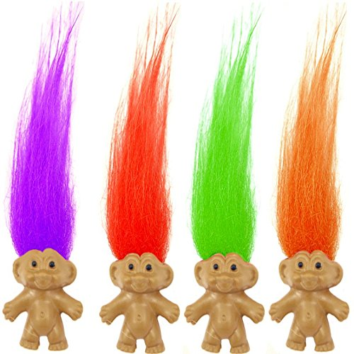 German Trendseller® - 12 x Trolle mit bunten Haaren ┃ Troll Mix für Kinder ┃ Mitgebsel ┃ Kindergeburtstag ┃ 12 Stück