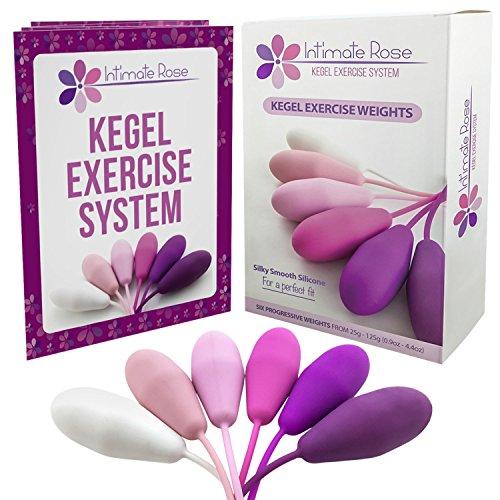 Intimate Rose Kegel-Übungsgewichte - Vom Arzt für Blasenkontrolle und Beckenbodenübungen empfohlen - Set aus 6 Premium Silikon-Kegeln mit Trainings-Kit für Frauen: Anfänger & Fortgeschrittene