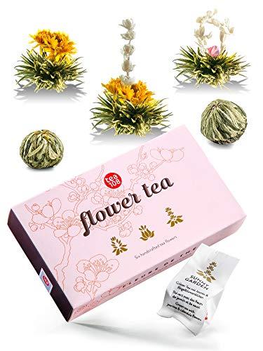 Teeblumen Geschenkset – Tee Geschenk in schöner Präsentationsbox – ein edles Geschenk für Frauen – jede Teeblume ein traumhaftes Erlebnis - Flower Tea 108