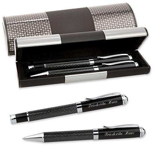 LOGIC-Etui mit SCHREIBSET CARBON 2-teilig Kugelschreiber und Tintenroller mit Wunsch-Gravur