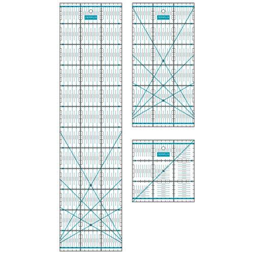 SEMPLIX Patchwork Lineal Set cm kleines Bundle (15x60 cm, 15x30 cm, 15x15 cm) (türkis)