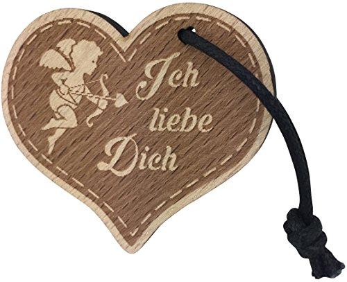 Schlüsselanhänger Herz Ich Liebe Dich Geschenk für Frauen und Männer aus Holz