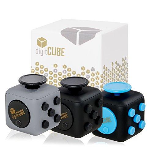 Premium Fidget Cube mit 6 verschiedenen Funktionen in Geschenkverpackung – Original digitCUBE, unser Stresswürfel gegen Nervosität - Unterhaltsames Gadget in 4cmx4cm Originalgröße (Schwarz)