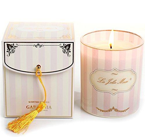 LA JOLIE MUSE Duftkerze Gardenie Duft im Glas Rosa Pink Sojawachs Geschenk 230g 45Std