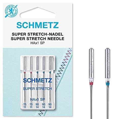 SCHMETZ Nähmaschinennadeln: 5 Super Stretch-Nadeln, Nadeldicken 75/11-90/14, Sortiert, HAx1SP, für Jede gängige Haushaltsnähmaschine, für die Verarbeitung elastischer Stoffen mit dickeren Nähfäden